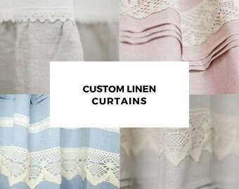 Custom linen curtains, Linen window drapes