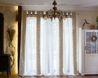 Elegant Sheer Curtain panel with lace and ruffles on linen ties