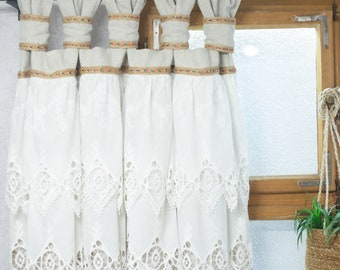 Ruffled curtains in boho and shabby chic style