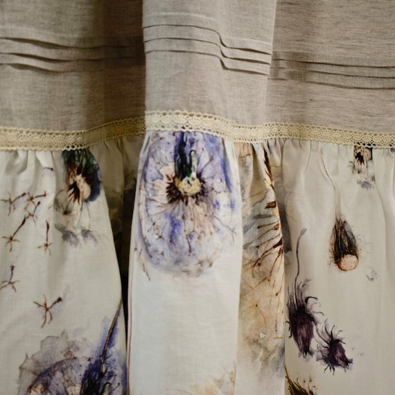Stonewashed linen flower curtain panel with bottom ruffle and flower pattern natural