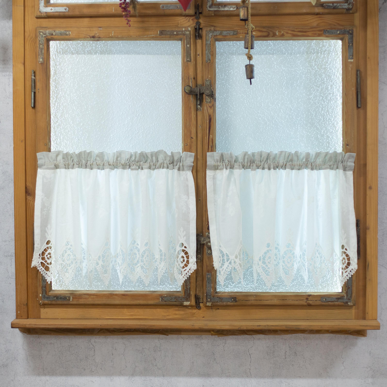 Cafe Curtain Kitchen Cotton Ecru Embroidery Farmhouse