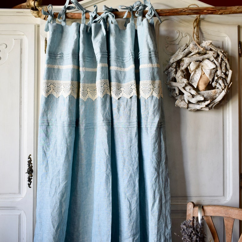 Stonewashed Linen Curtain Top Ties Curtain Boho Curtain