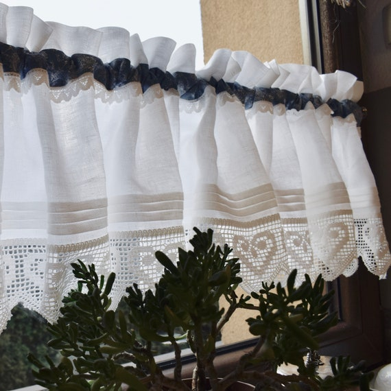 Cottage linen valance, French kitchen curtain with lace