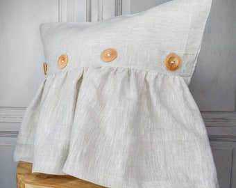 Stonewashed Linen country pillow cover