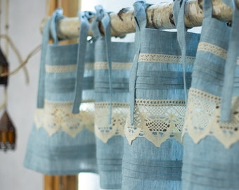 Linen old blue cafe kitchen curtain bistro on ties