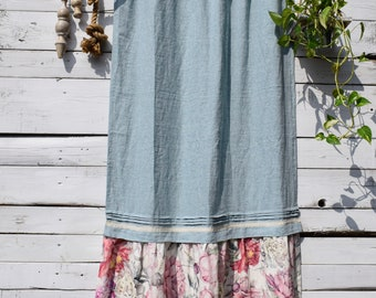 Stonewashed linen old blue curtain with flower bottom ruffle