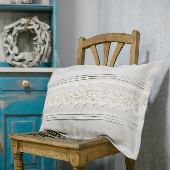Linen Farmhouse Boho Pillowcover Cushioncover Pillow Shabby Cottage Natur Beige