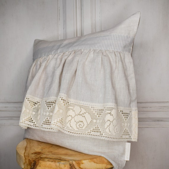 Stonewashed linen boho pillow with rustic lace. Pillowcase