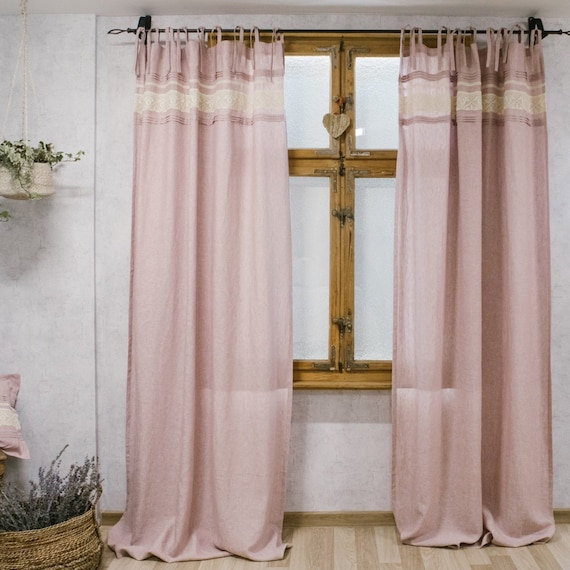 Shabby Chic Pink Curtains Pink Linen Curtains On Ties