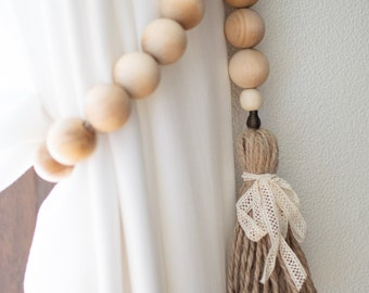 Boho curtain tie with farmhouse beads, Wooden bead garland hygge,  Curtain holders