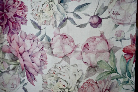 Linen curtains with floral print