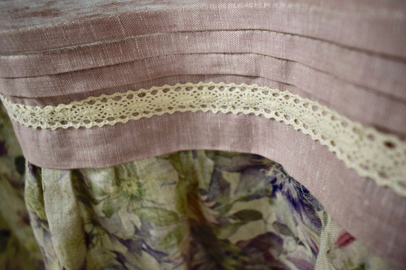 French cottage floral linen curtain