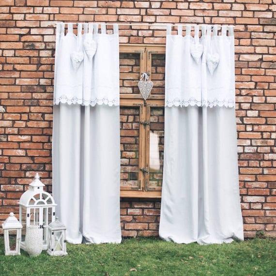 Boho Chic Vorhänge Bauernhaus Vorhänge natürliche Vorhänge   Etsy