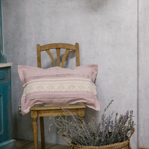 Oldrose linen pillow cover Rose Cuschioncover Linen Bedding Shabby Vintage Cottage