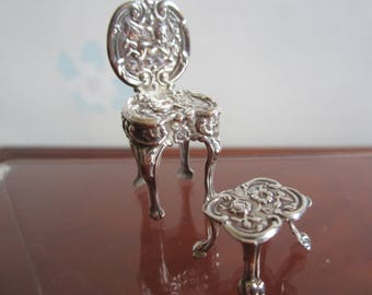 Silver Miniature Chair and Footstool Hallmarked Doll's House Furniture