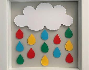 Bright 3D Rain Cloud Wall Art