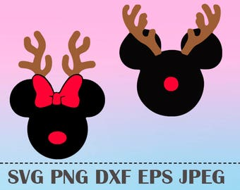 SVG Mickey reindeer cristmas monogram Vector Layered Cut File Silhouette Cameo Cricut Design Template Stencil Vinyl Decal Tshirt Heat