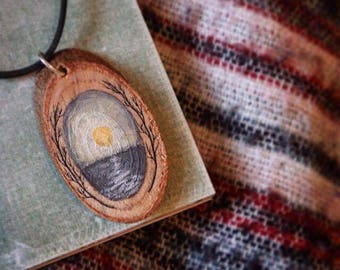 Handpainted Wooden Sea Sunset Necklace