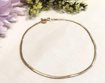 14K Solid Yellow Gold Vintage Pretty Italian Chain Bracelet