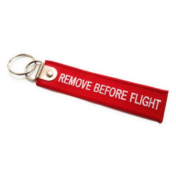 PILOT EMBROIDERED CUSTOM NAME LUGGAGE TAG KEYCHAIN REMOVE BEFORE FLIGHT CREW