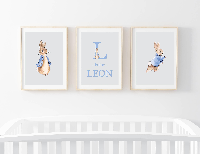 Baby boy girl peter rabbit beatrix potter nursery print etsy - Peter rabbit nursery border ...