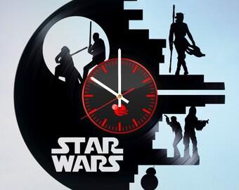 Star Wars Vinyl Wall Clock, Wall Clock Vintage, Han Solo Gift, Birthday Gift, Darth Vader Vinyl Record Wall Clock, Wall Clock Modern