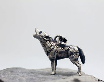 Howling Wolf Sterling Silver Mini Sculpture Pendant