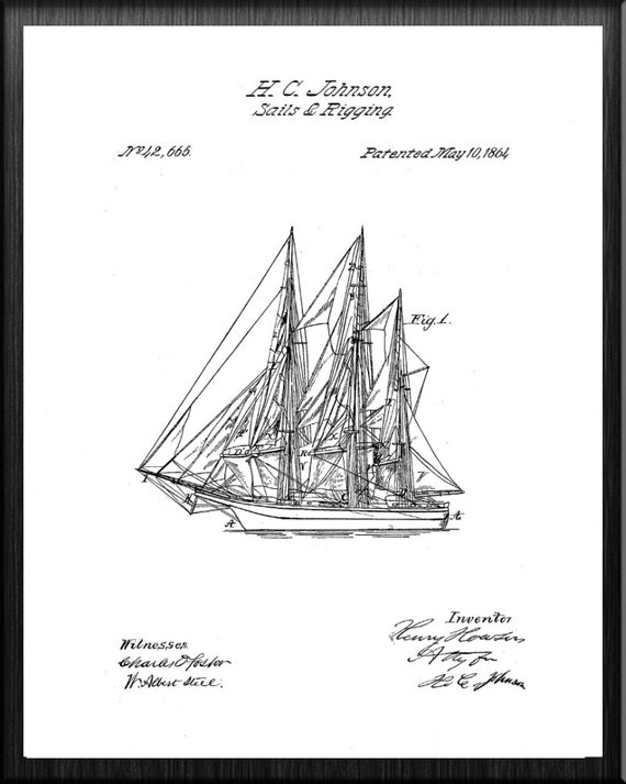 Ready To Be Framed! 1864 Sailboat Art Patent Print Sails and Rigging