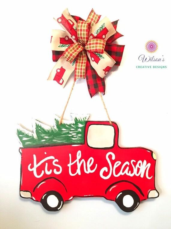 Red Christmas Truck Door Hanger Christmas Truck For Door Etsy