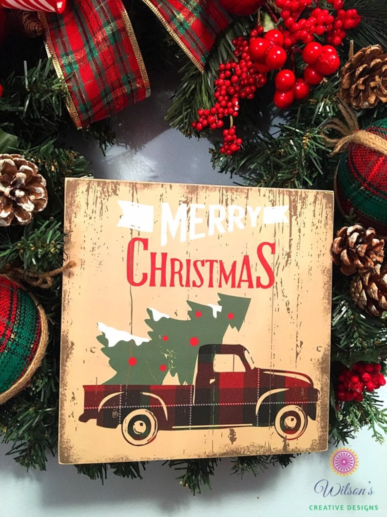 Christmas In Evergreen Truck.Christmas Evergreen Wreath Christmas Wreath Evergreen Wreath Xmas Wreath Red Truck Wreath Christmas Decoration Holiday Wreath