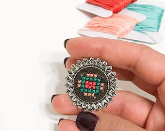 Flower Cross stitch ring, cross stitch on wood, colorful ring with cross stitch, embroidered jewelry, wood ring with cross stitch