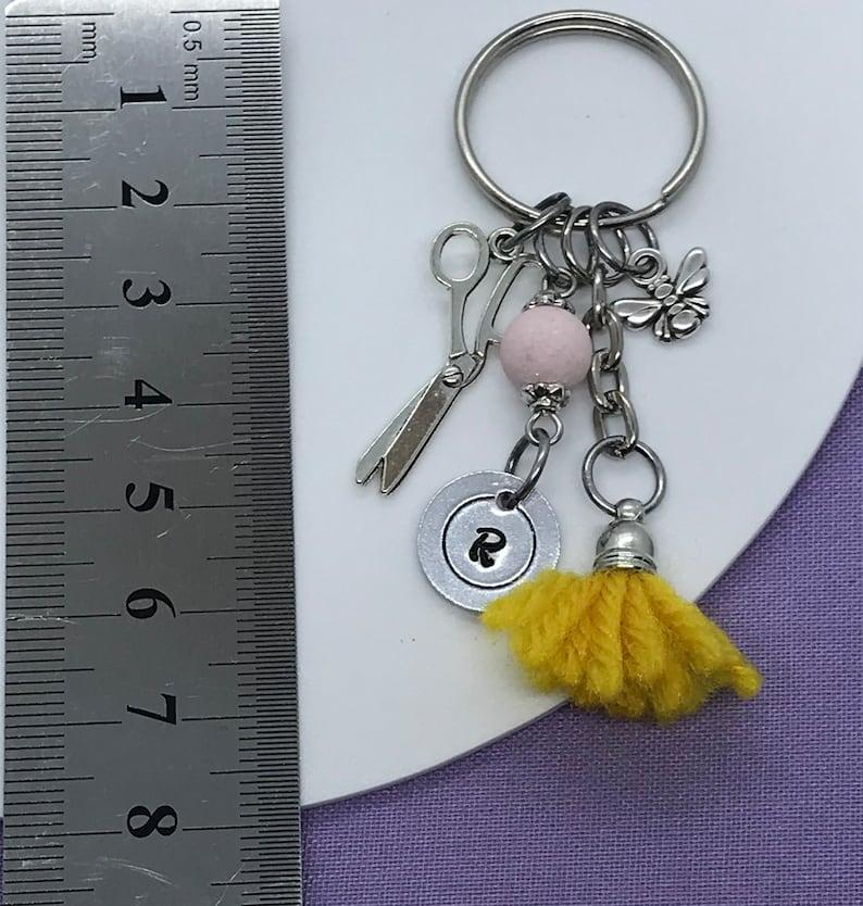 Personalised Initial Keychain Bee keychain Scissor Keychain Hairdresser keychain Hairdresser or seamstress gift Tassel keychain