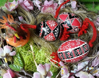 Three Artisanal Slovenian Colored Easter Eggs  (Great Easter Gift!)