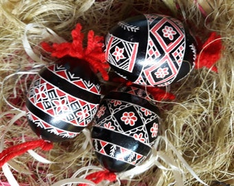 Three Artisanal Colored Easter Egg Ornaments  - Traditional Slovenian Pisanica or Pysanky (Great Easter or Christmas gift)
