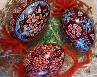 Three Hand-Carved Ornamented Easter egg (Traditional Slovenian Drsanka)