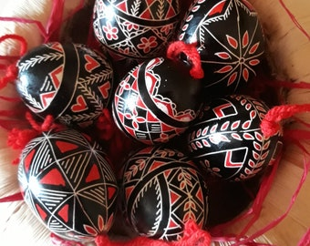 Ten Artisanal Colored Easter Egg Ornaments - Traditional Slovenian Pisanica or Pysanky (Great Easter or Christmas gift)