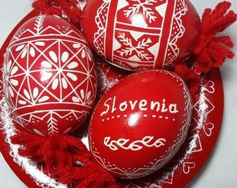 Three Artisanal Colored Easter Eggs on a Plate - Traditional Slovenian Pisanica or Pysanky (Great Easter or Christmas gift)