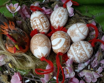 Two Artisanal Easter Egg Ornaments - Slovenian Pisanice or Pysanky with a modern Twist (Great Christmas or Easter Gift!)