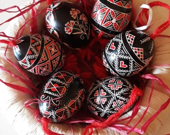 Six Artisanal Colored Easter Egg Ornaments - Traditional Slovenian Pisanica or Pysanky (Great Easter or Christmas gift)