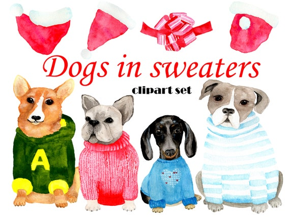 Christmas Puppies.Christmas Dogs Clipart Christmas Puppies Clip Art Dogs In Sweaters Christmas Ugly Sweaters Clipart Puppy In Ugly Sweaters Print Instant Pup