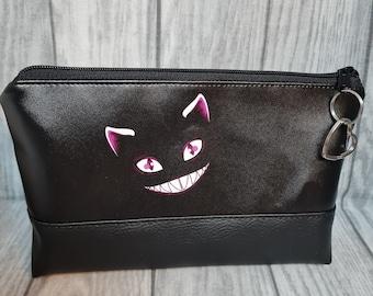 Grinsekatze Bag Cosmetic Bag Toiletry Bag Pen Bag Pencil Case Black with Pendant Heart