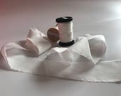 1.18 USD Yard ,cheapest Undyed silk ribbon ,1.5 inch wide silk raw edge Habotai ,natural white 50Yard Spool (continuous )without a seam