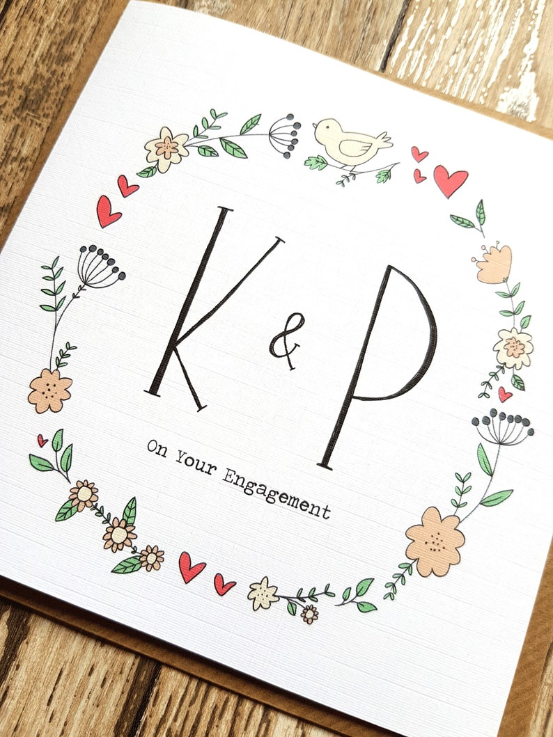 Monogram Card Custom Engagement Card Keepsake Card Letter Engagement Card Personalised Initial Engagement Greeting Card