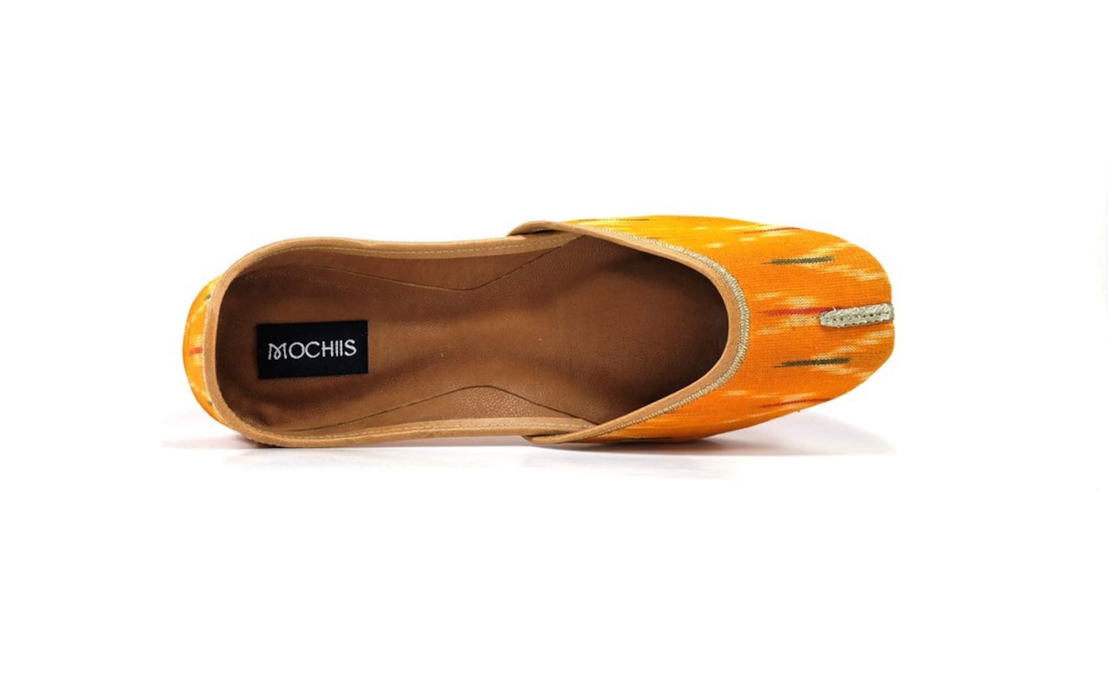 ochre - handmade yellow ikat printed leather ballet flats - traditional jutti / khussa / mojari with a contemporary twist