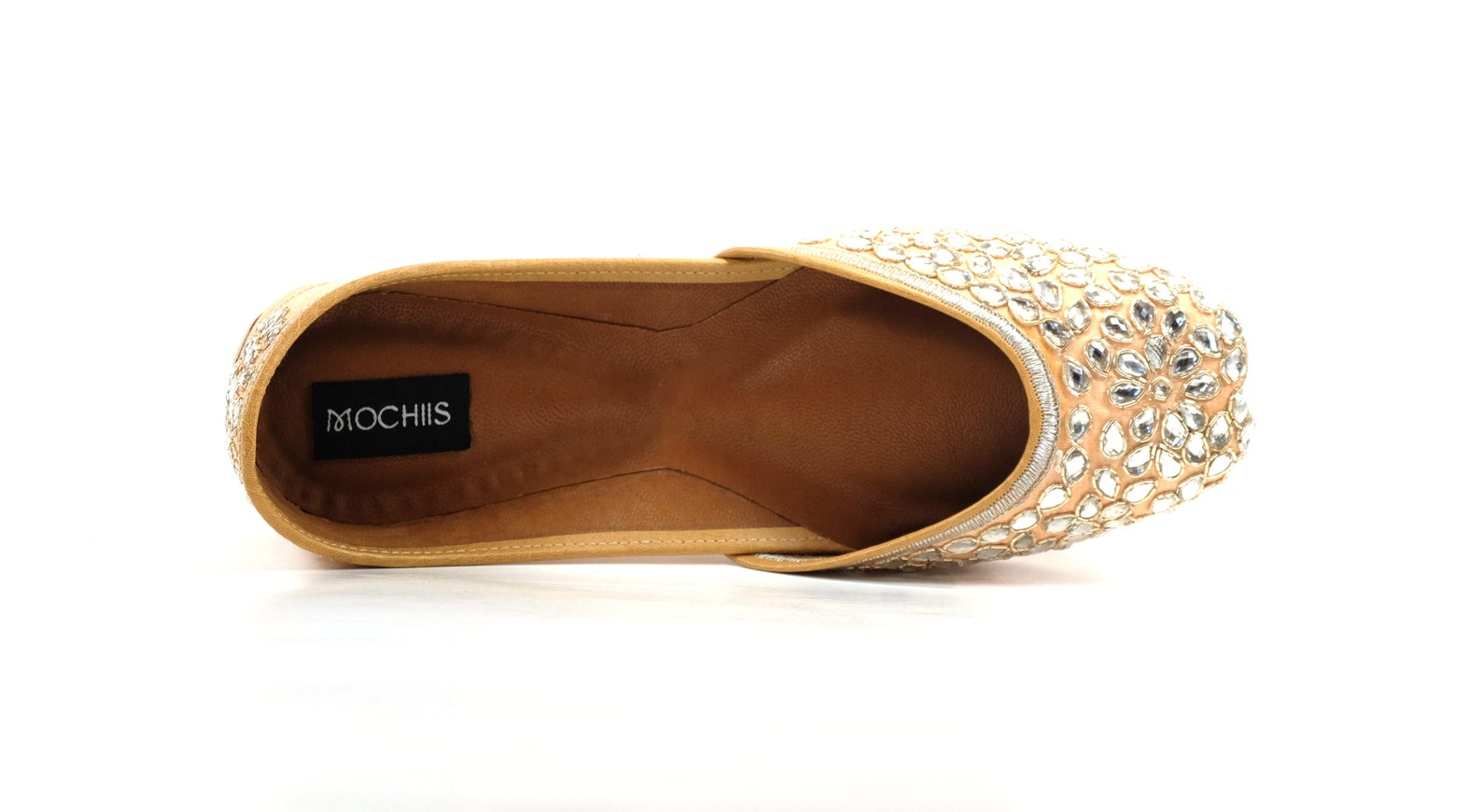 solitaire - handmade embroidered leather ballet flats - kundan juttis - traditional jutti / mojari / khussa with a contemporary