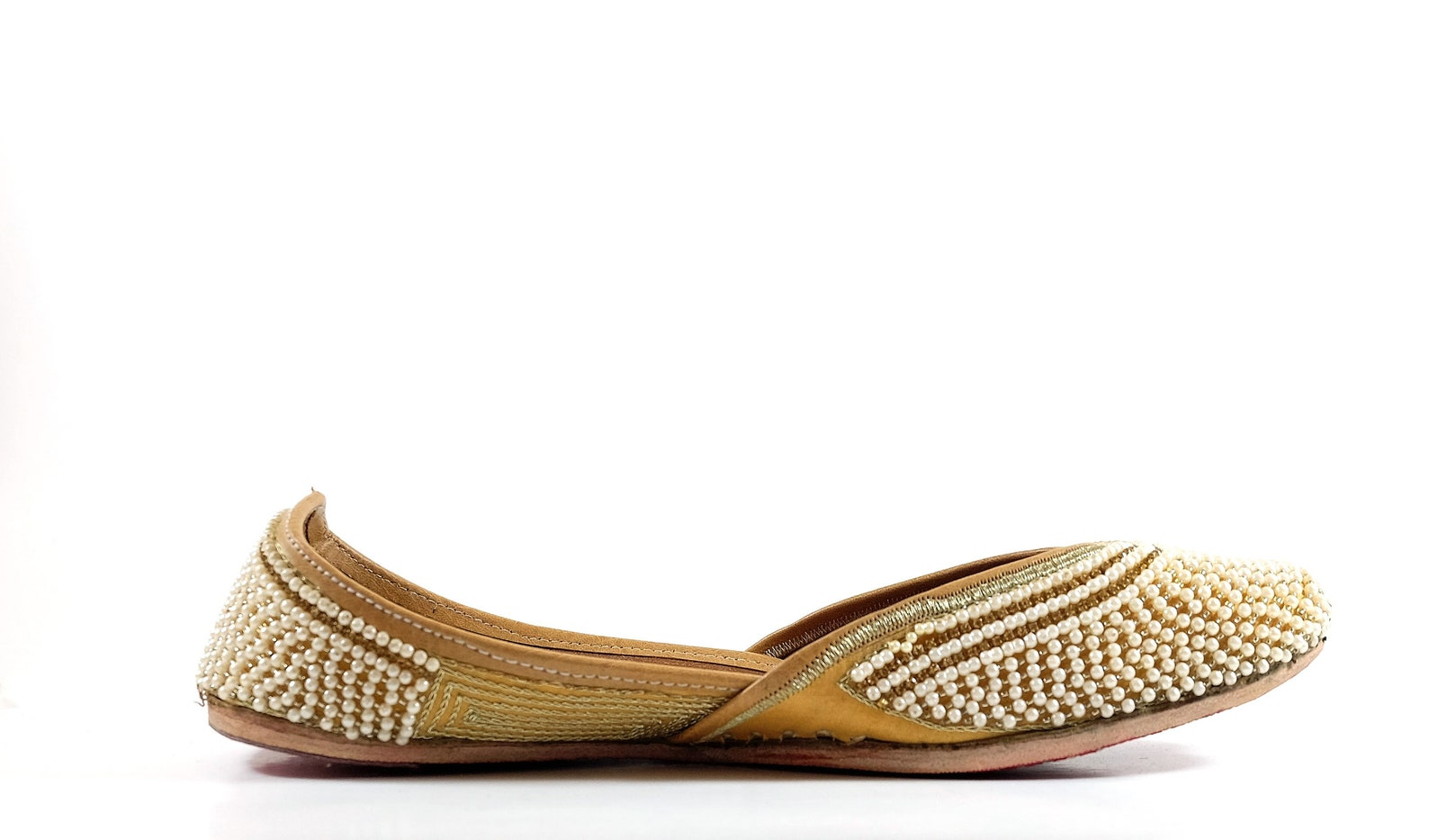 moti - handmade embroidered leather ballet flats - pearl juttis - traditional jutti / mojari / khussa with a contemporary twist