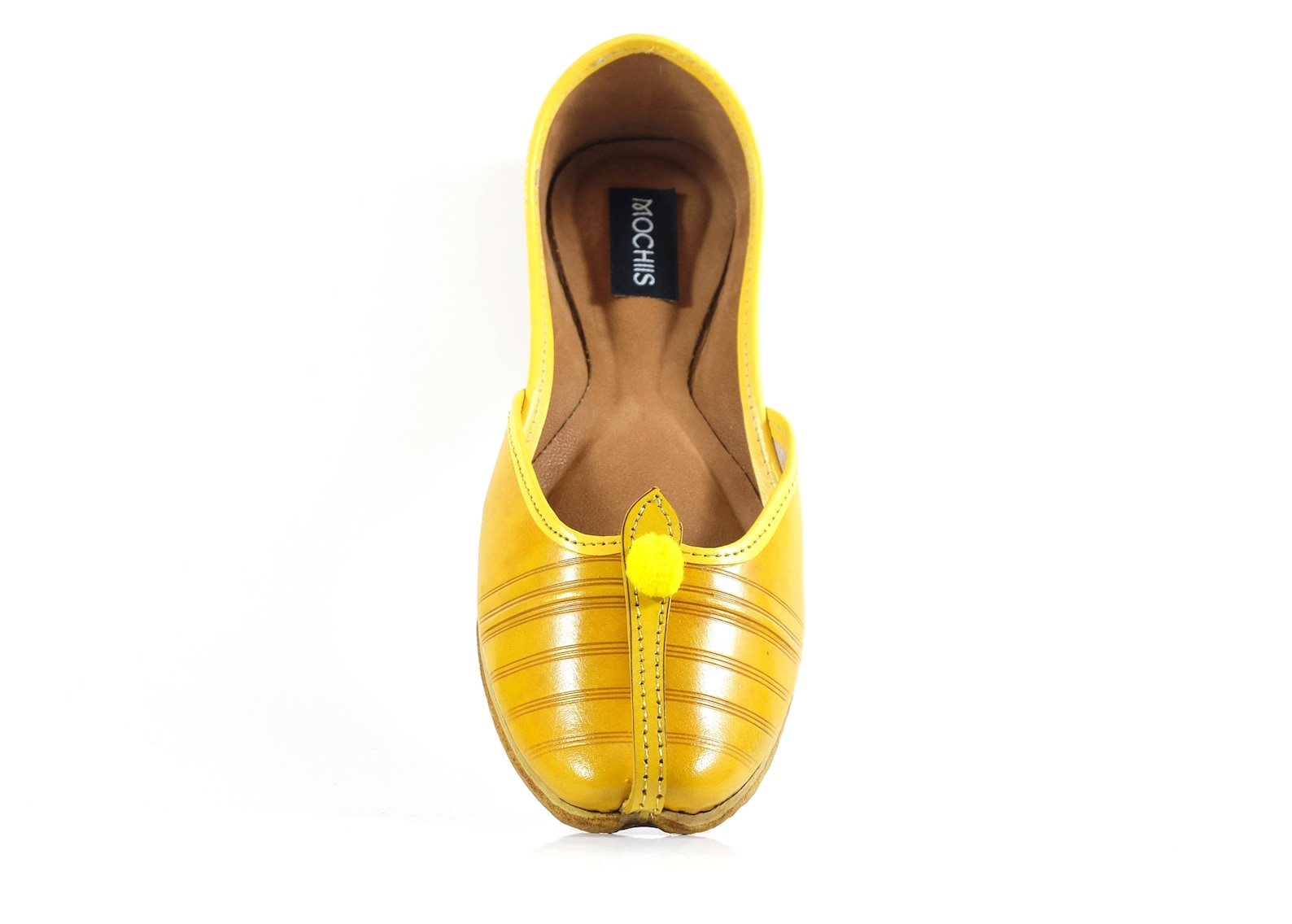 handmade classic leather ballet flat shoes - brown and yellow - with pom-pom details - jutti / khussa / mojari