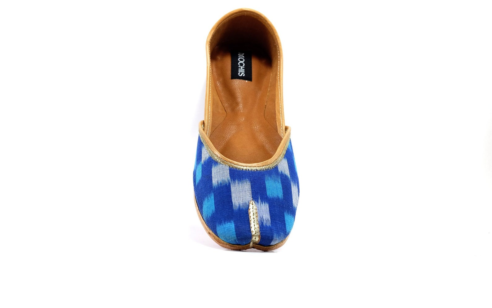 azure - handmade leather ballet flats - ikat juttis - traditional jutti / mojari / khussa with a contemporary twist