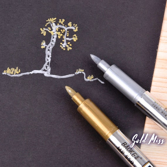 Metallic Marker Wedding Guest Book Pens Gold Marker Silver Marker Scrapbooking Tools Doodling Pen Studyblr Wine Write On Glass Painting