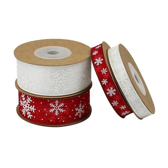 Ruban rouge de flocon de neige 10 mètres ruban Voile rouge Ruban ou blanc joyeux Noël ruban Couronne imprimé ruban traditionnel Noël cadeau étiquette ruban festif 272772